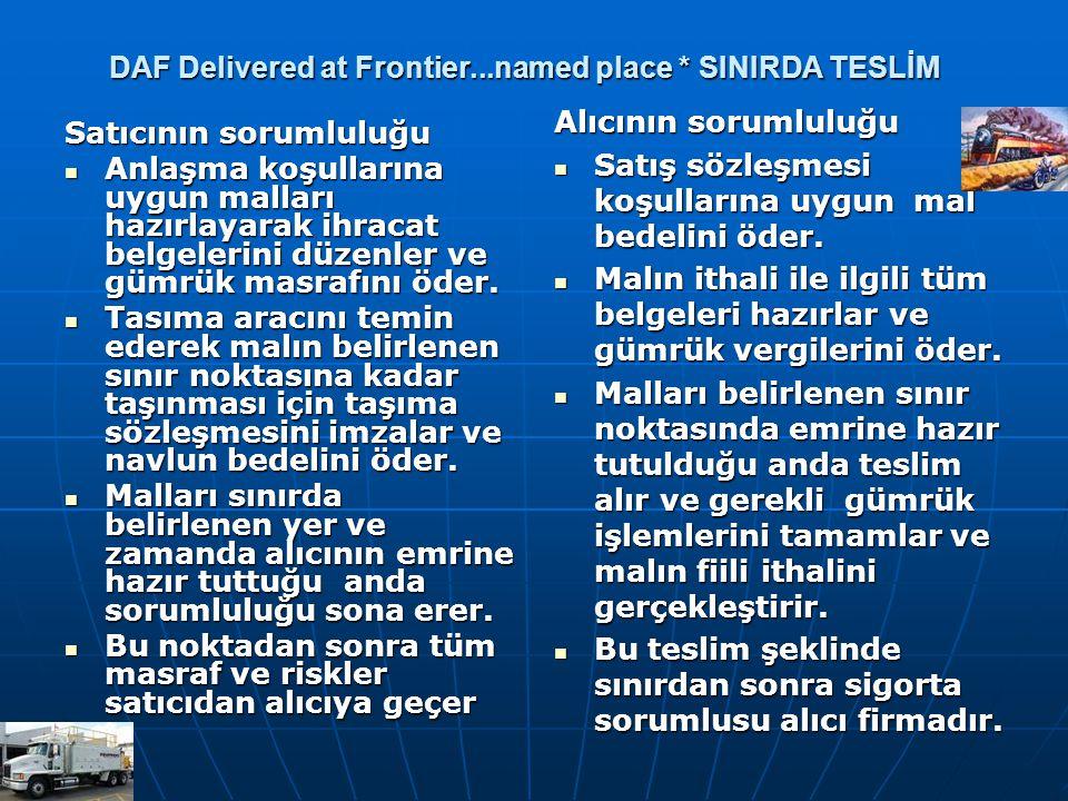DAF Delivered at Frontier...named place * SINIRDA TESLİM Satıcının sorumluluğu Anlaşma koşullarına uygun malları hazırlayarak ihracat belgelerini düze