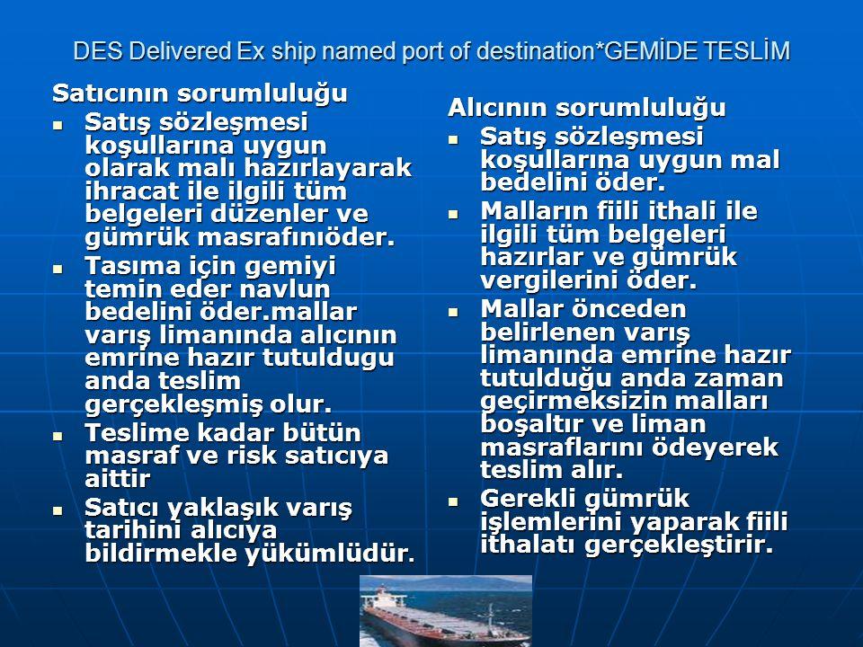 DES Delivered Ex ship named port of destination*GEMİDE TESLİM Satıcının sorumluluğu Satış sözleşmesi koşullarına uygun olarak malı hazırlayarak ihraca