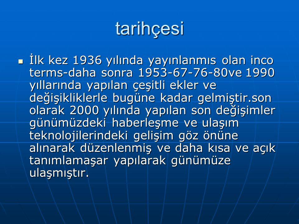 tarihçesi İlk kez 1936 yılında yayınlanmıs olan inco terms-daha sonra 1953-67-76-80ve 1990 yıllarında yapılan çeşitli ekler ve değişikliklerle bugüne