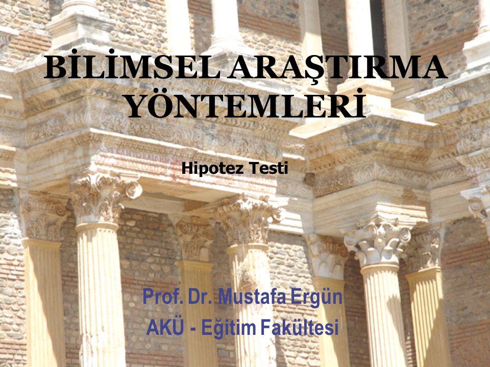 BİLİMSEL ARAŞTIRMA YÖNTEMLERİ Prof. Dr. Mustafa Ergün AKÜ - Eğitim Fakültesi Hipotez Testi
