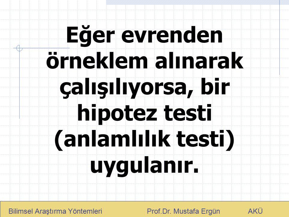 Eğer evrenden örneklem alınarak çalışılıyorsa, bir hipotez testi (anlamlılık testi) uygulanır. Bilimsel Araştırma Yöntemleri Prof.Dr. Mustafa Ergün AK