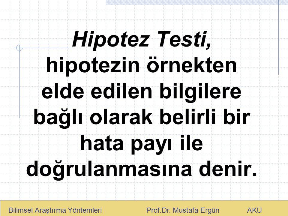 Hipotez Testi, hipotezin örnekten elde edilen bilgilere bağlı olarak belirli bir hata payı ile doğrulanmasına denir. Bilimsel Araştırma Yöntemleri Pro