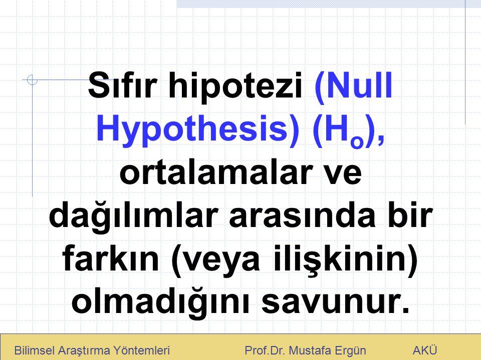 Sıfır hipotezi (Null Hypothesis) (H o ), ortalamalar ve dağılımlar arasında bir farkın (veya ilişkinin) olmadığını savunur. Bilimsel Araştırma Yönteml