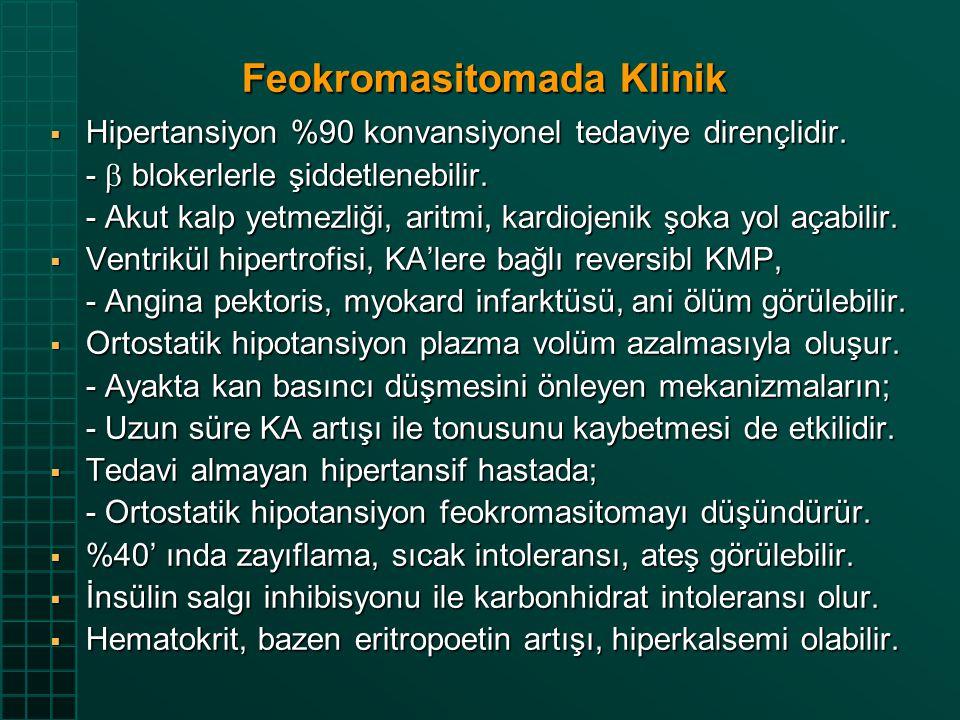 Feokromasitomada Klinik  Hipertansiyon %90 konvansiyonel tedaviye dirençlidir. -  blokerlerle şiddetlenebilir. - Akut kalp yetmezliği, aritmi, kardi