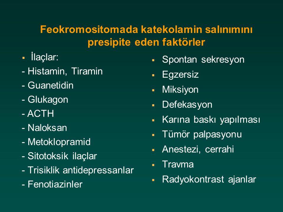 Feokromositomada katekolamin salınımını presipite eden faktörler  İlaçlar: - Histamin, Tiramin - Guanetidin - Glukagon - ACTH - Naloksan - Metoklopra