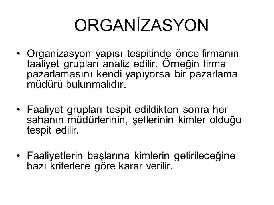 Organizasyon yapısı tespitinde önce firmanın faaliyet grupları analiz edilir. Örneğin firma pazarlamasını kendi yapıyorsa bir pazarlama müdürü bulunma