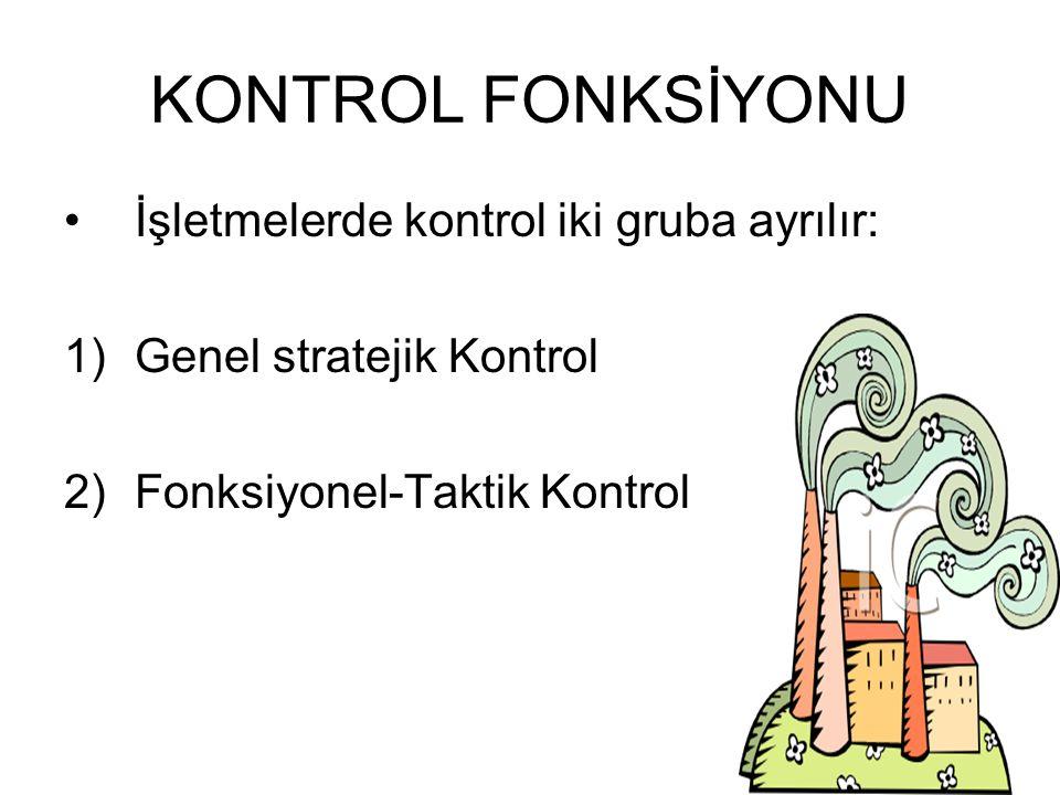 KONTROL FONKSİYONU İşletmelerde kontrol iki gruba ayrılır: 1)Genel stratejik Kontrol 2)Fonksiyonel-Taktik Kontrol