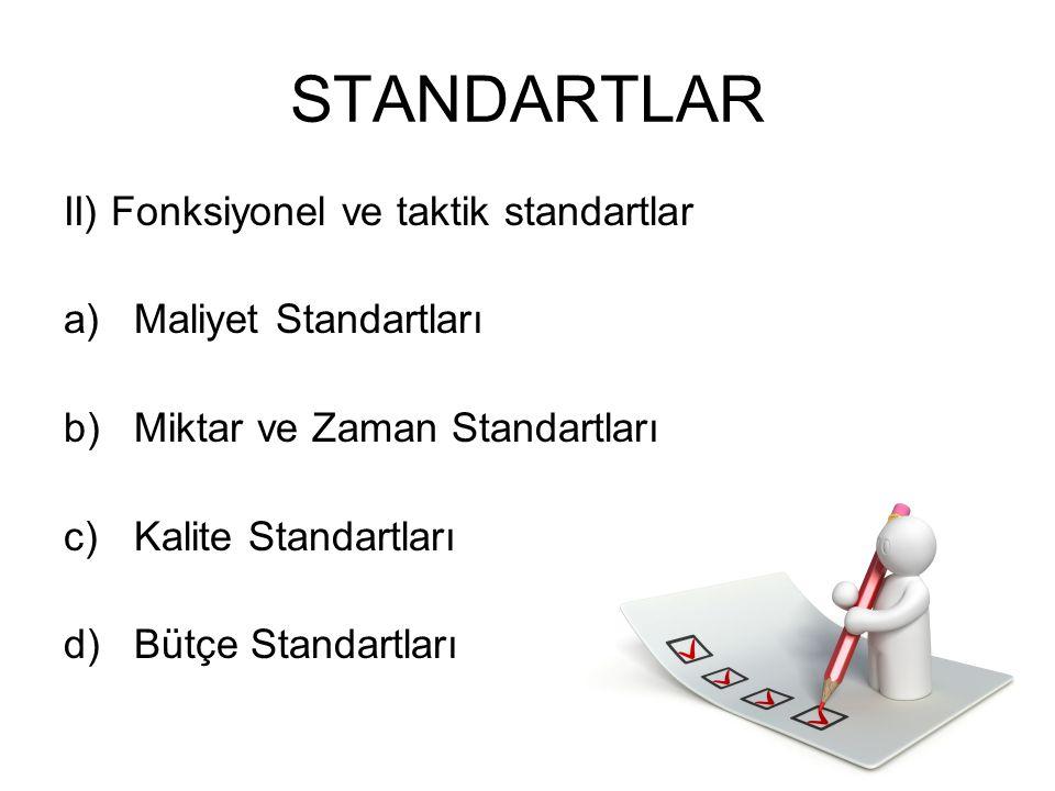 STANDARTLAR II) Fonksiyonel ve taktik standartlar a)Maliyet Standartları b)Miktar ve Zaman Standartları c)Kalite Standartları d)Bütçe Standartları