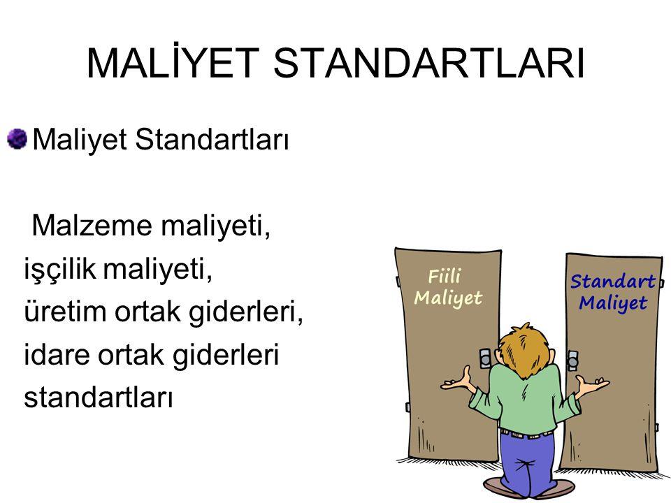 MALİYET STANDARTLARI Maliyet Standartları Malzeme maliyeti, işçilik maliyeti, üretim ortak giderleri, idare ortak giderleri standartları