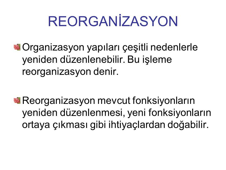 REORGANİZASYON Organizasyon yapıları çeşitli nedenlerle yeniden düzenlenebilir. Bu işleme reorganizasyon denir. Reorganizasyon mevcut fonksiyonların y