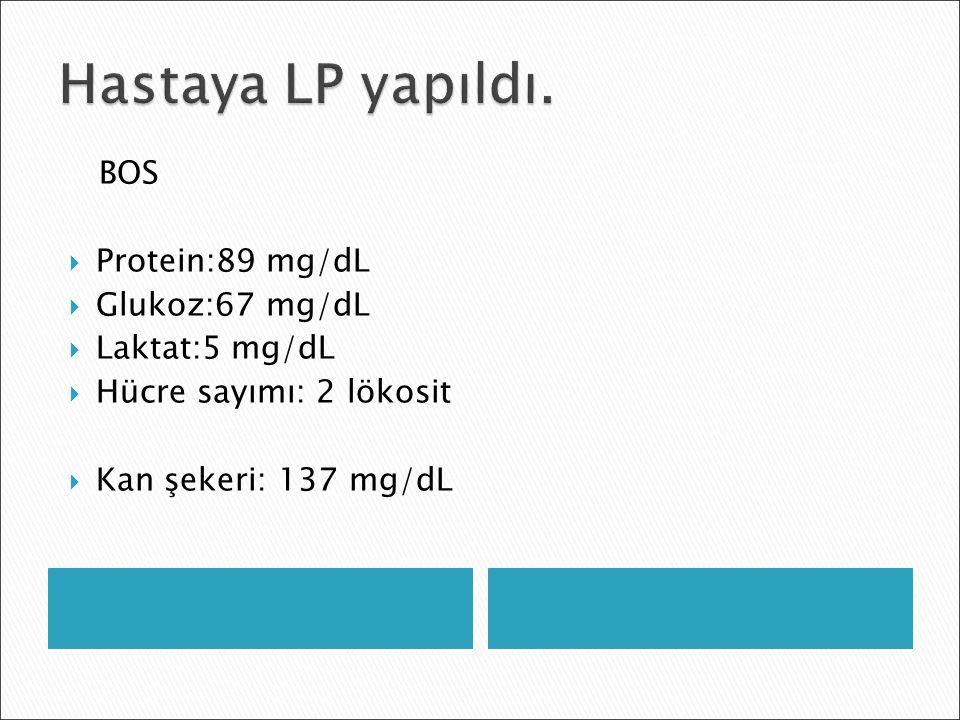 BOS  Protein:89 mg/dL  Glukoz:67 mg/dL  Laktat:5 mg/dL  Hücre sayımı: 2 lökosit  Kan şekeri: 137 mg/dL
