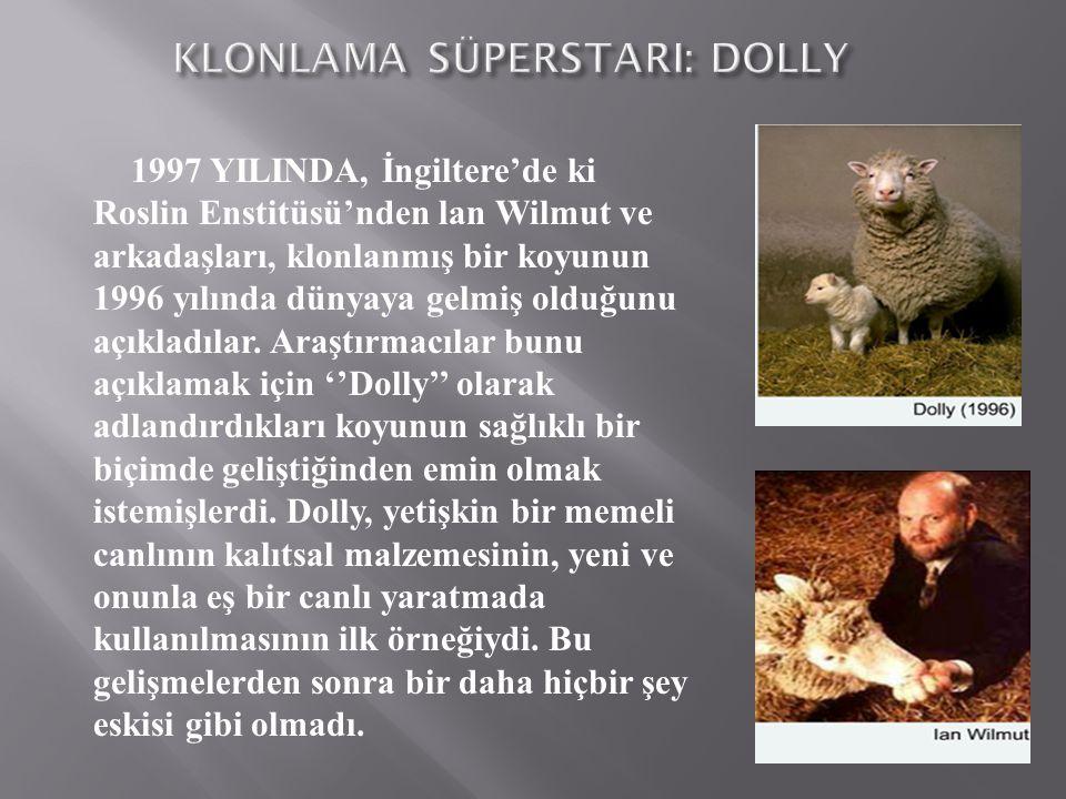 1997 YILINDA, İngiltere'de ki Roslin Enstitüsü'nden lan Wilmut ve arkadaşları, klonlanmış bir koyunun 1996 yılında dünyaya gelmiş olduğunu açıkladılar