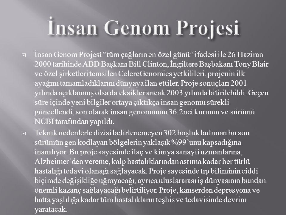""" İnsan Genom Projesi """"tüm çağların en özel günü"""" ifadesi ile 26 Haziran 2000 tarihinde ABD Başkanı Bill Clinton, İngiltere Başbakanı Tony Blair ve öz"""