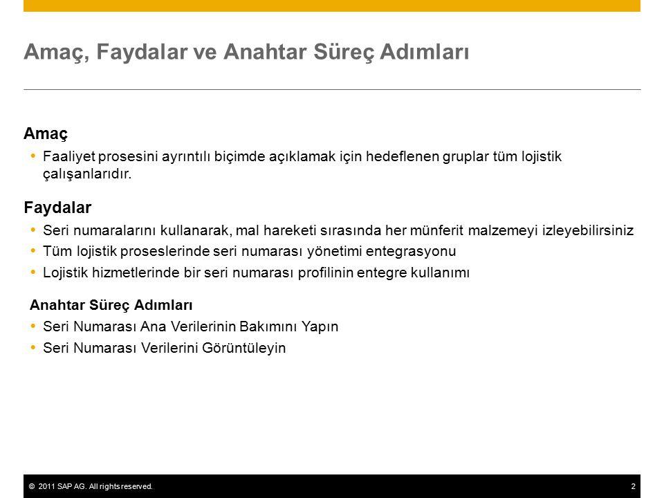 ©2011 SAP AG. All rights reserved.2 Amaç, Faydalar ve Anahtar Süreç Adımları Amaç  Faaliyet prosesini ayrıntılı biçimde açıklamak için hedeflenen gru