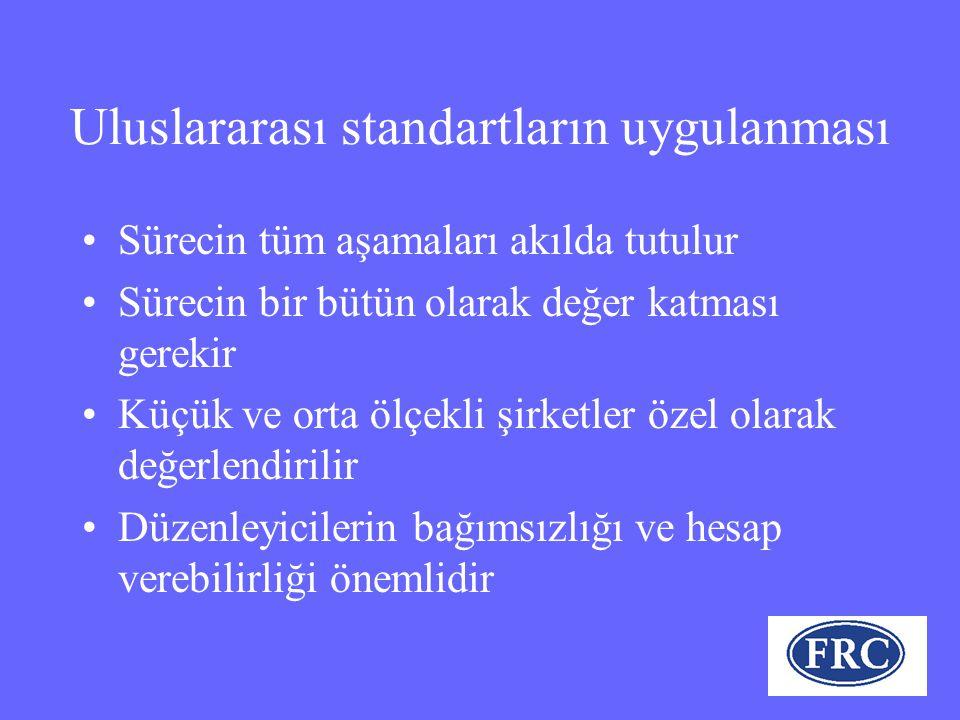 Uluslararası standartların uygulanması Sürecin tüm aşamaları akılda tutulur Sürecin bir bütün olarak değer katması gerekir Küçük ve orta ölçekli şirketler özel olarak değerlendirilir Düzenleyicilerin bağımsızlığı ve hesap verebilirliği önemlidir