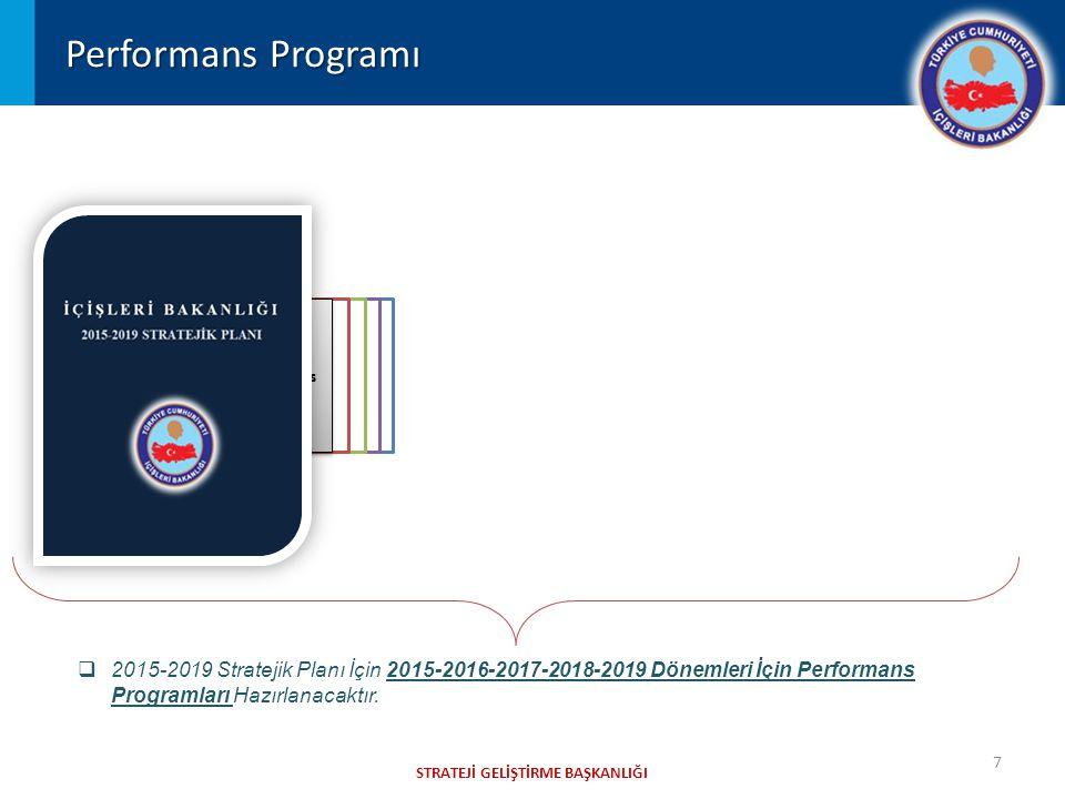 2019 Performans Programı 2018 Performans Programı 2017 Performans Programı 2016 Performans Programı 2015 Performans Programı STRATEJİ GELİŞTİRME BAŞKANLIĞI Performans Programı 7  2015-2019 Stratejik Planı İçin 2015-2016-2017-2018-2019 Dönemleri İçin Performans Programları Hazırlanacaktır.