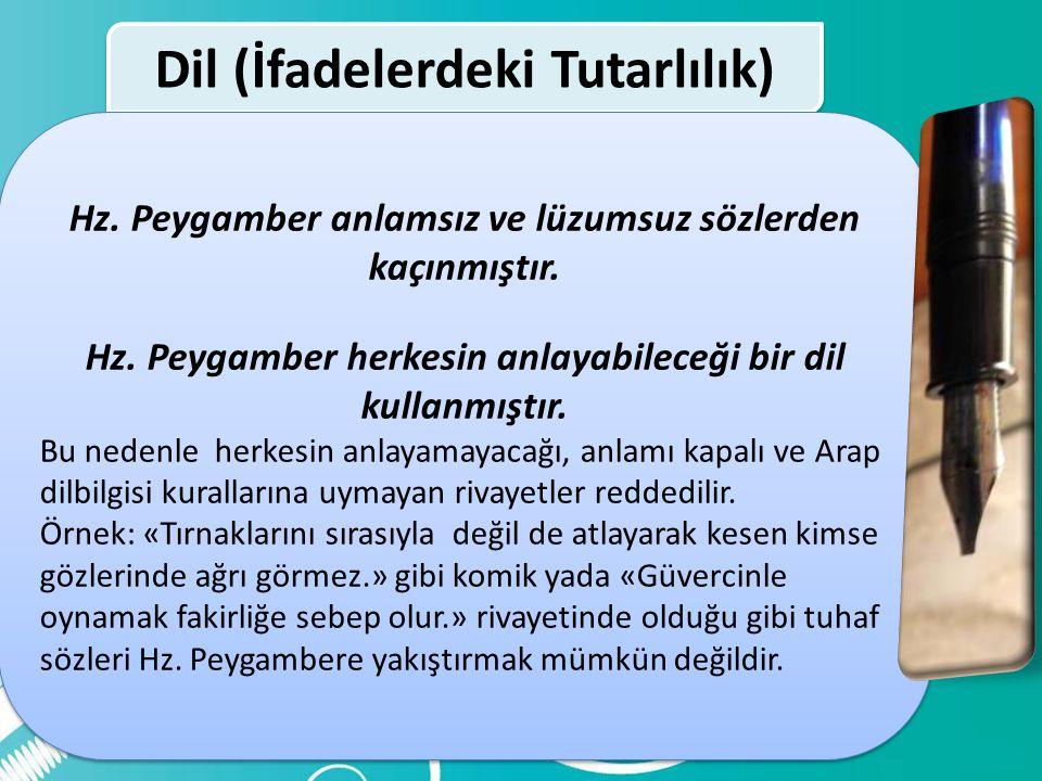 Dil (İfadelerdeki Tutarlılık) Dil (İfadelerdeki Tutarlılık) Kur'an'a Uygunluk Sahih Sünnete Uygunluk Akılla Çelişmeme Tarihi Verilere Uygunluk Metin T