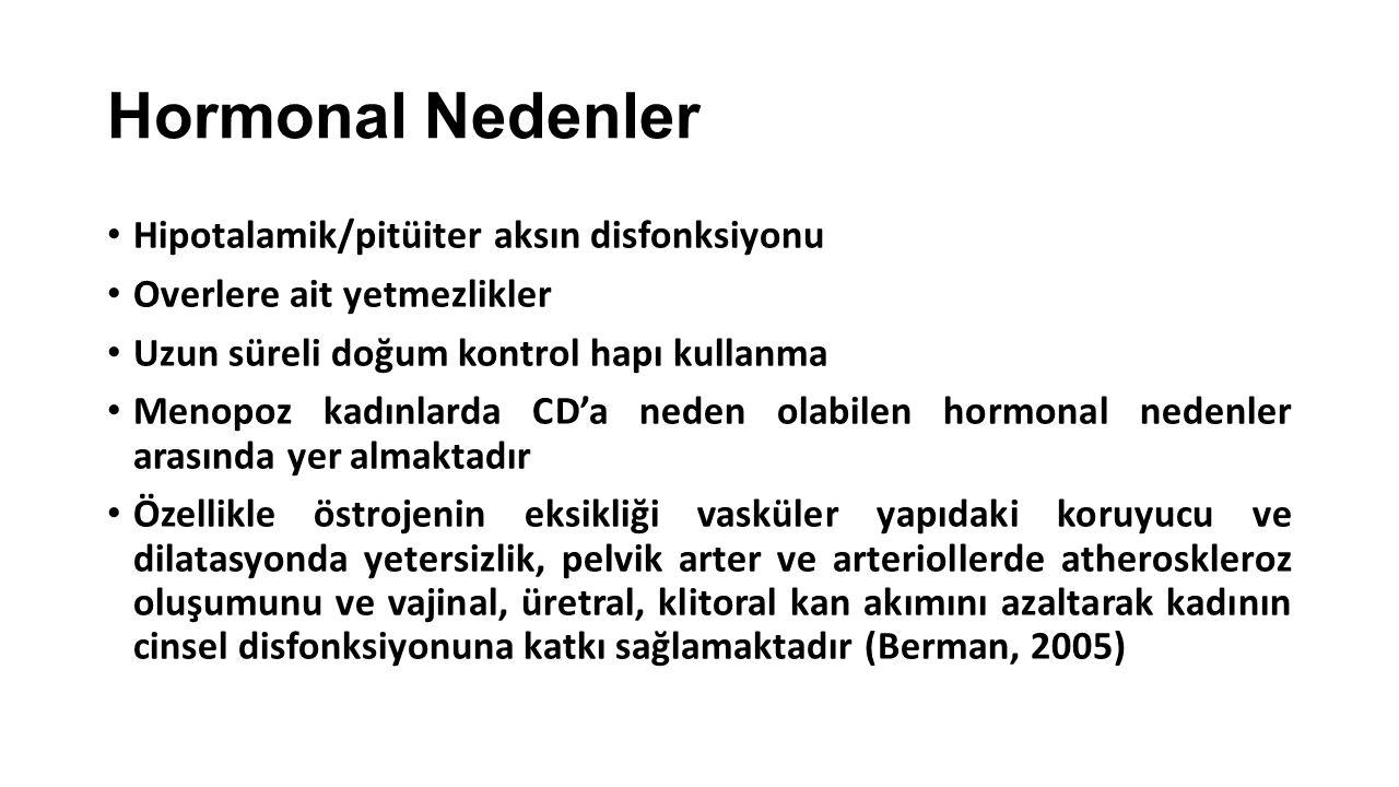 Hormonal Nedenler Hipotalamik/pitüiter aksın disfonksiyonu Overlere ait yetmezlikler Uzun süreli doğum kontrol hapı kullanma Menopoz kadınlarda CD'a n