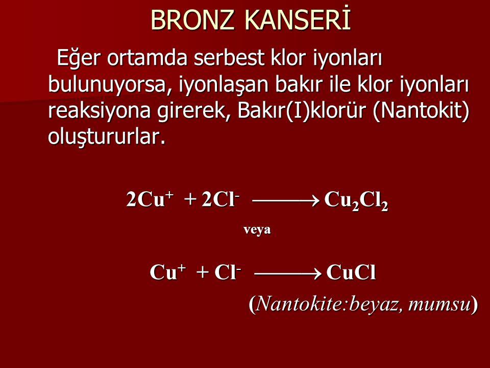BRONZ KANSERİ Eğer ortamda serbest klor iyonları bulunuyorsa, iyonlaşan bakır ile klor iyonları reaksiyona girerek, Bakır(I)klorür (Nantokit) oluştururlar.