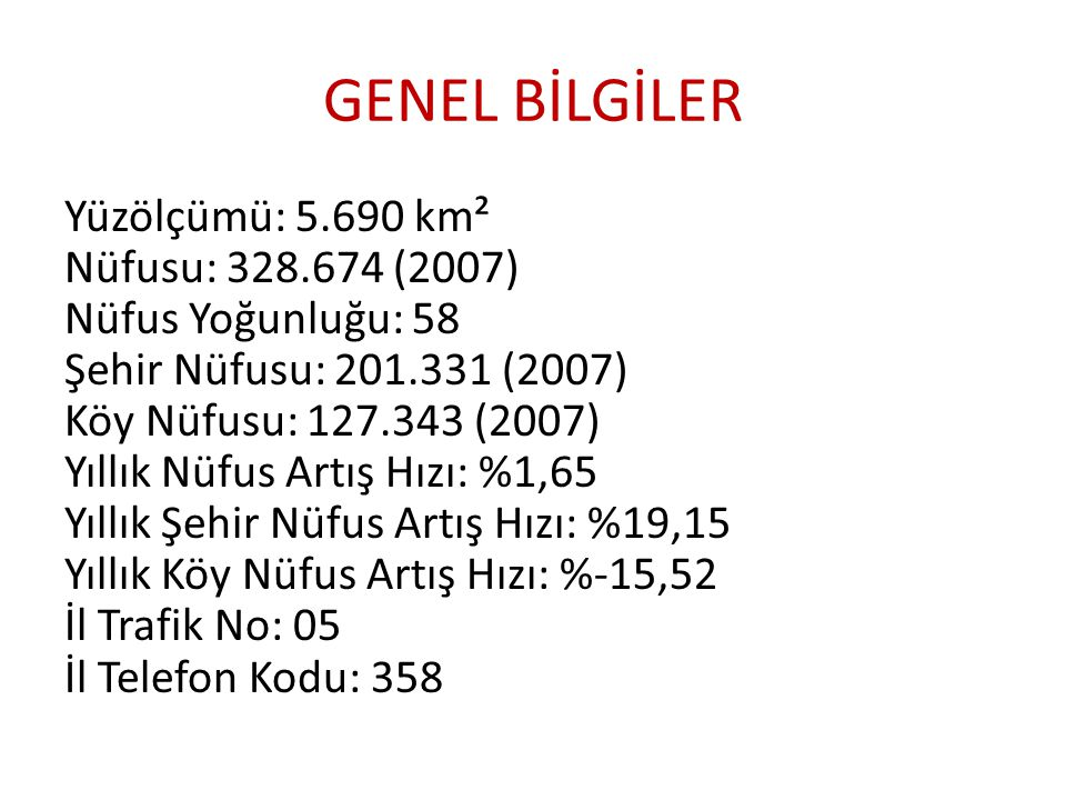 GENEL BİLGİLER Yüzölçümü: 5.690 km² Nüfusu: 328.674 (2007) Nüfus Yoğunluğu: 58 Şehir Nüfusu: 201.331 (2007) Köy Nüfusu: 127.343 (2007) Yıllık Nüfus Ar