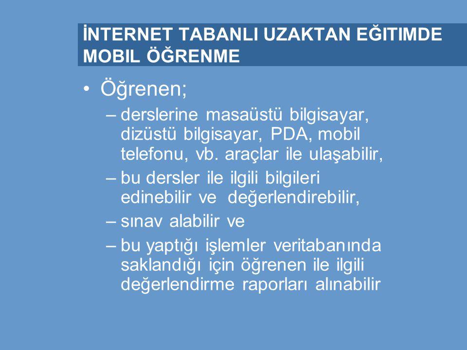 İnternet Tabanlı Uzaktan Eğitim ve Mobil Öğrenme