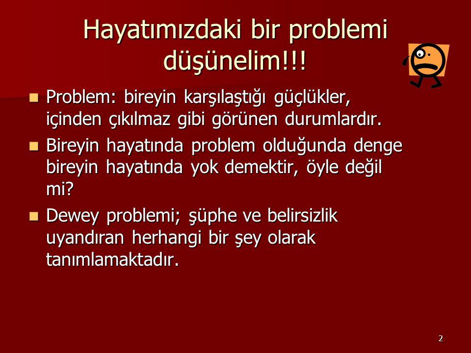 2 Hayatımızdaki bir problemi düşünelim!!! Problem: bireyin karşılaştığı güçlükler, içinden çıkılmaz gibi görünen durumlardır. Problem: bireyin karşıla