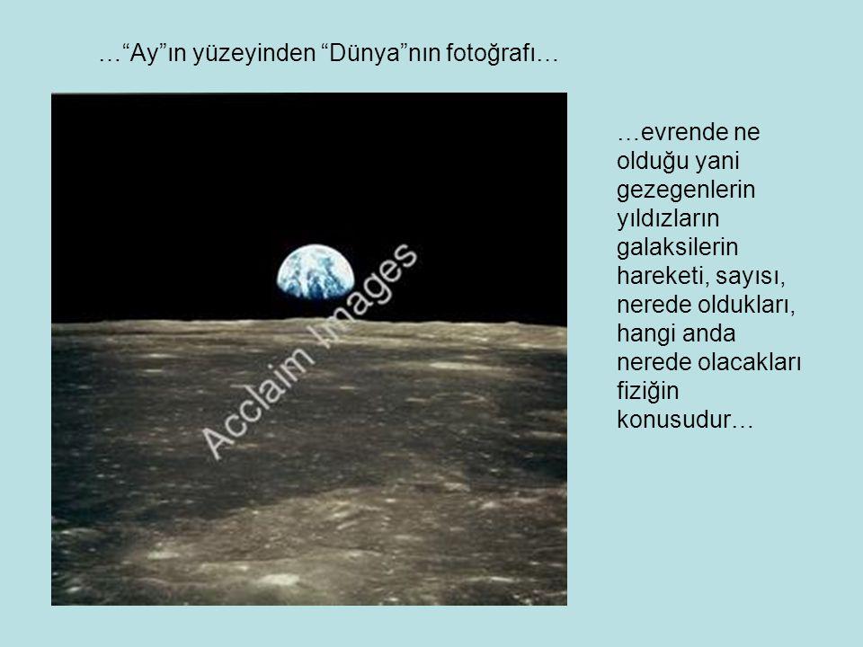 … Ay ın yüzeyinden Dünya nın fotoğrafı… …evrende ne olduğu yani gezegenlerin yıldızların galaksilerin hareketi, sayısı, nerede oldukları, hangi anda nerede olacakları fiziğin konusudur…