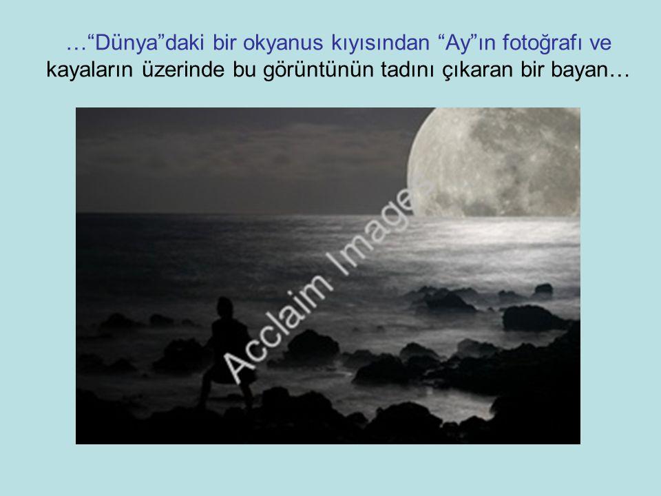 … Dünya daki bir okyanus kıyısından Ay ın fotoğrafı ve kayaların üzerinde bu görüntünün tadını çıkaran bir bayan…