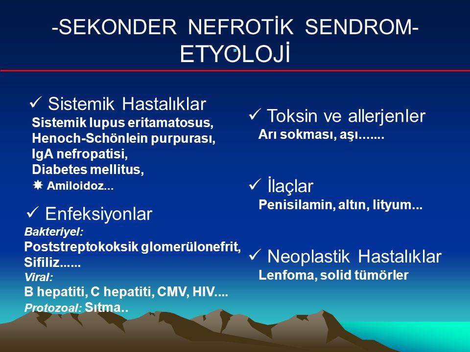.. -SEKONDER NEFROTİK SENDROM- ETYOLOJİ Sistemik Hastalıklar Sistemik lupus eritamatosus, Henoch-Schönlein purpurası, IgA nefropatisi, Diabetes mellit