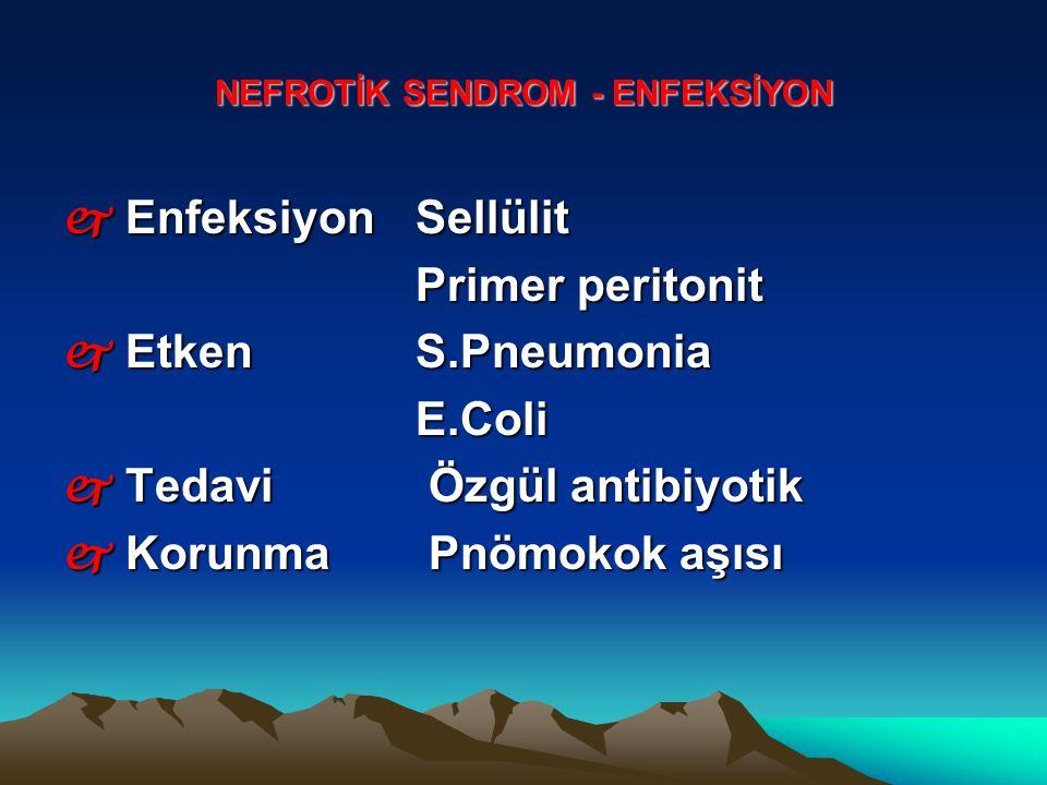 NEFROTİK SENDROM - ENFEKSİYON j Enfeksiyon Sellülit Primer peritonit Primer peritonit j Etken S.Pneumonia E.Coli E.Coli j Tedavi Özgül antibiyotik j K