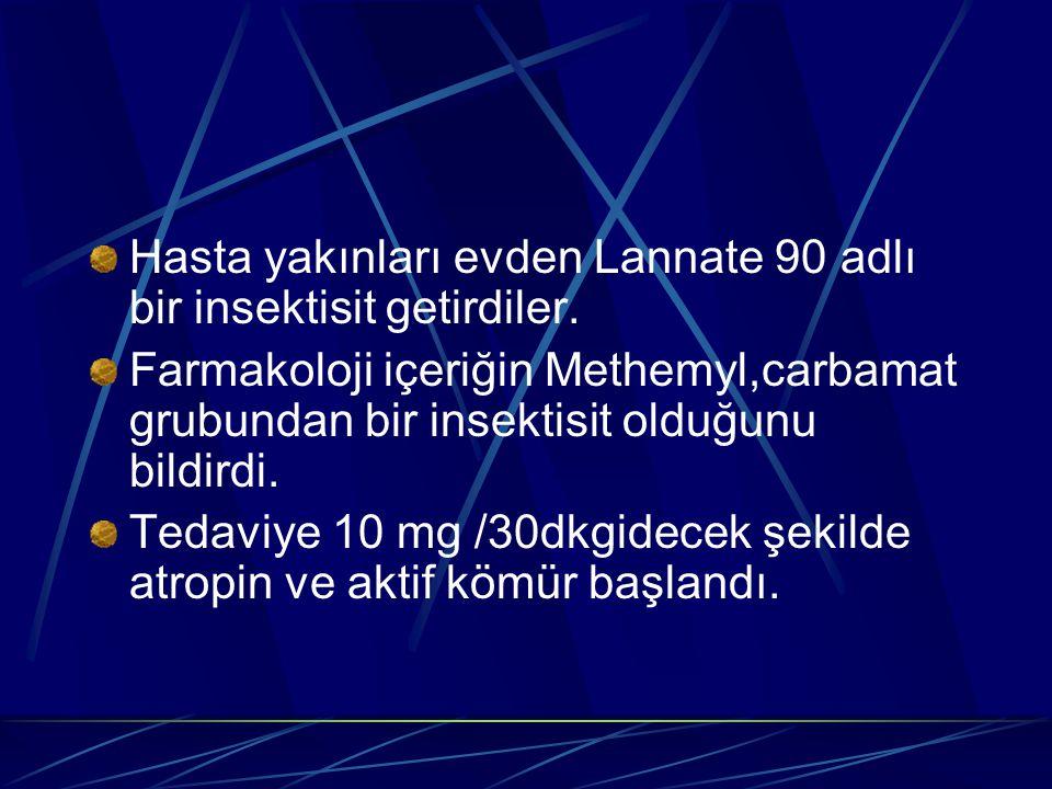 Hasta yakınları evden Lannate 90 adlı bir insektisit getirdiler. Farmakoloji içeriğin Methemyl,carbamat grubundan bir insektisit olduğunu bildirdi. Te