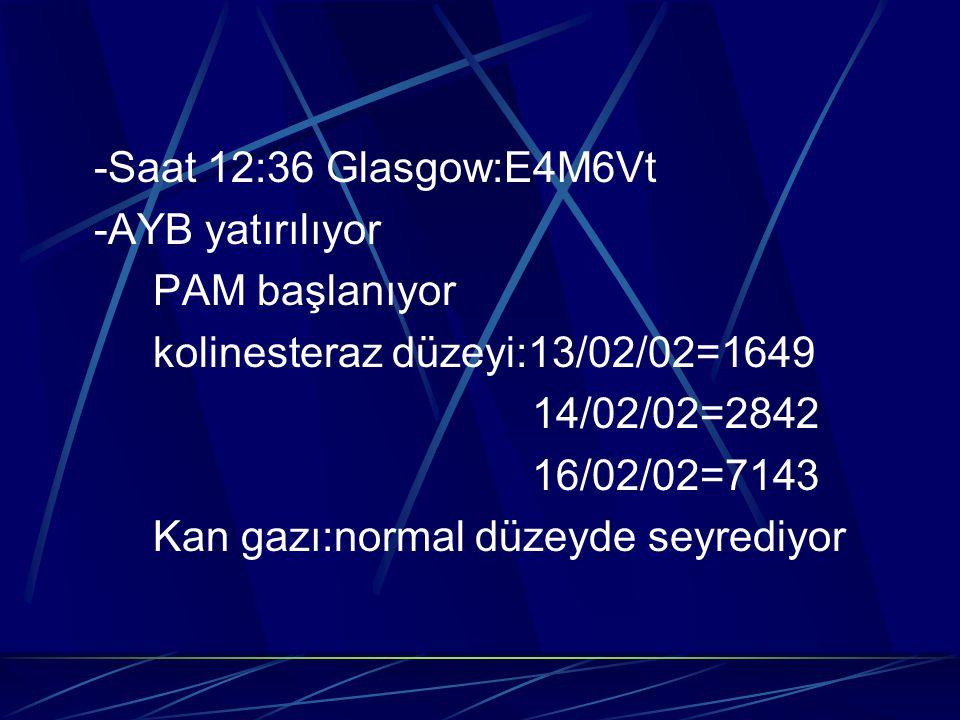 -Saat 12:36 Glasgow:E4M6Vt -AYB yatırılıyor PAM başlanıyor kolinesteraz düzeyi:13/02/02=1649 14/02/02=2842 16/02/02=7143 Kan gazı:normal düzeyde seyre