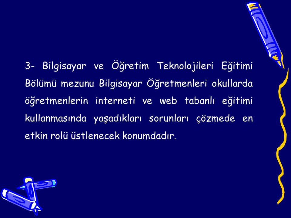 4- Bilgisayar Öğretmenleri, Türkiye'de web tabanlı eğitimin yaygınlaşması için internet ortamında öğrencilerin ve öğretmenlerin kullanımına yönelik eğitim materyalleri, kaynaklar ve eğitim yazılımları geliştirebilecek yeterliliktedir.