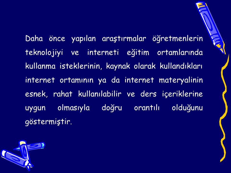 Bu çalışmada internetin okullara taşınmasında etkin bir rol oynayacak olan öğretmenlerin, interneti kullanmada, interneti eğitim ortamlarına aktarmada, internetin eğitim ortamında bir kaynak olarak kullanılmasında yaşadıkları sorunlar araştırılmıştır.