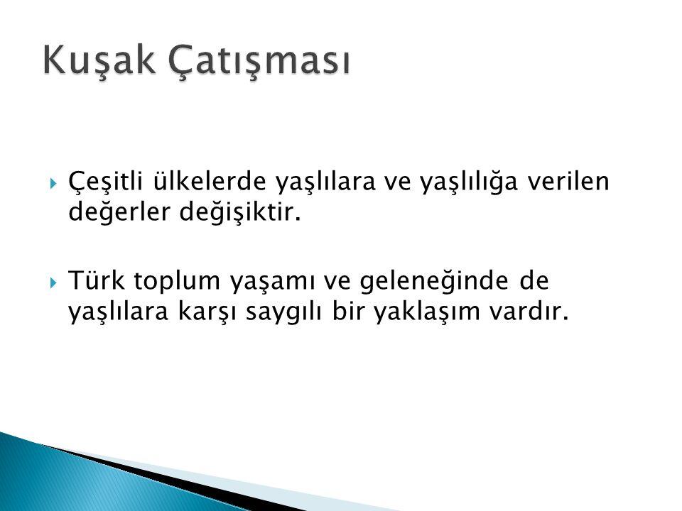  Çeşitli ülkelerde yaşlılara ve yaşlılığa verilen değerler değişiktir.  Türk toplum yaşamı ve geleneğinde de yaşlılara karşı saygılı bir yaklaşım va