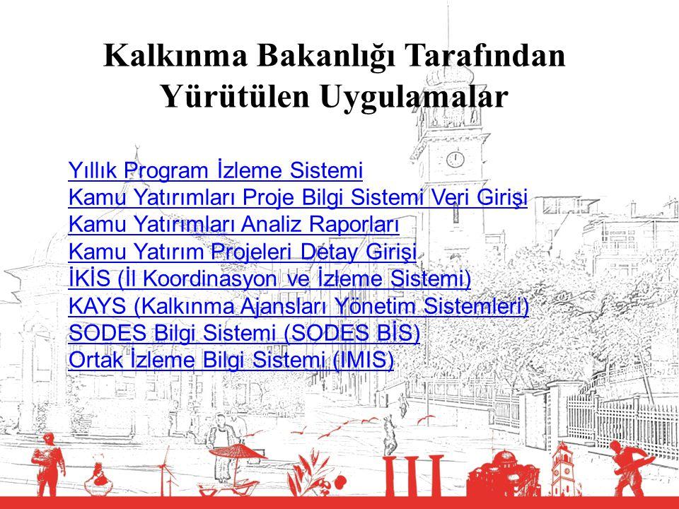 6 Uygulama Yazılımı Temel Fonksiyonları Sistem Yönetimi – Aktivite İzleme – Duyuru İşlemleri – Kullanıcı ve Kurum Yönetimi – Referans Veri Alanları Yönetimi Proje Yönetimi – Proje Teklifi – Yatırım Programında Yer Alan Proje İşlemleri – Yatırım Programı Dışındaki Proje İşlemleri – Program İşlemleri Sektör İşlemleri – Sektörel İzleme / Veri Girişi İşlemleri – Veri Girişi Hatırlatma