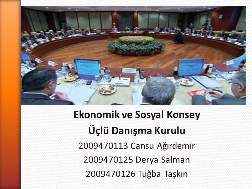 Ekonomik ve Sosyal Konsey Üçlü Danışma Kurulu 2009470113 Cansu Ağırdemir 2009470125 Derya Salman 2009470126 Tuğba Taşkın
