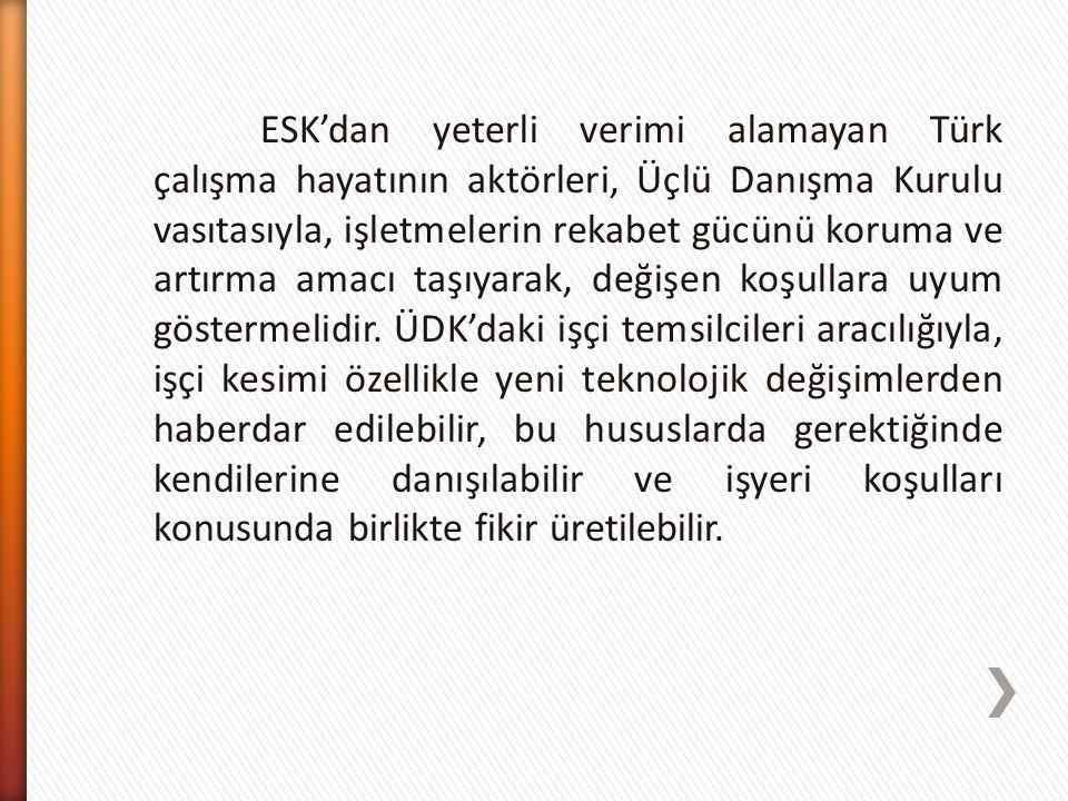 ESK'dan yeterli verimi alamayan Türk çalışma hayatının aktörleri, Üçlü Danışma Kurulu vasıtasıyla, işletmelerin rekabet gücünü koruma ve artırma amacı