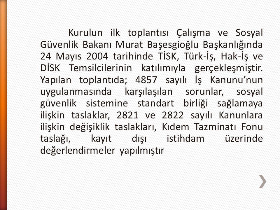 Kurulun ilk toplantısı Çalışma ve Sosyal Güvenlik Bakanı Murat Başesgioğlu Başkanlığında 24 Mayıs 2004 tarihinde TİSK, Türk-İş, Hak-İş ve DİSK Temsilc
