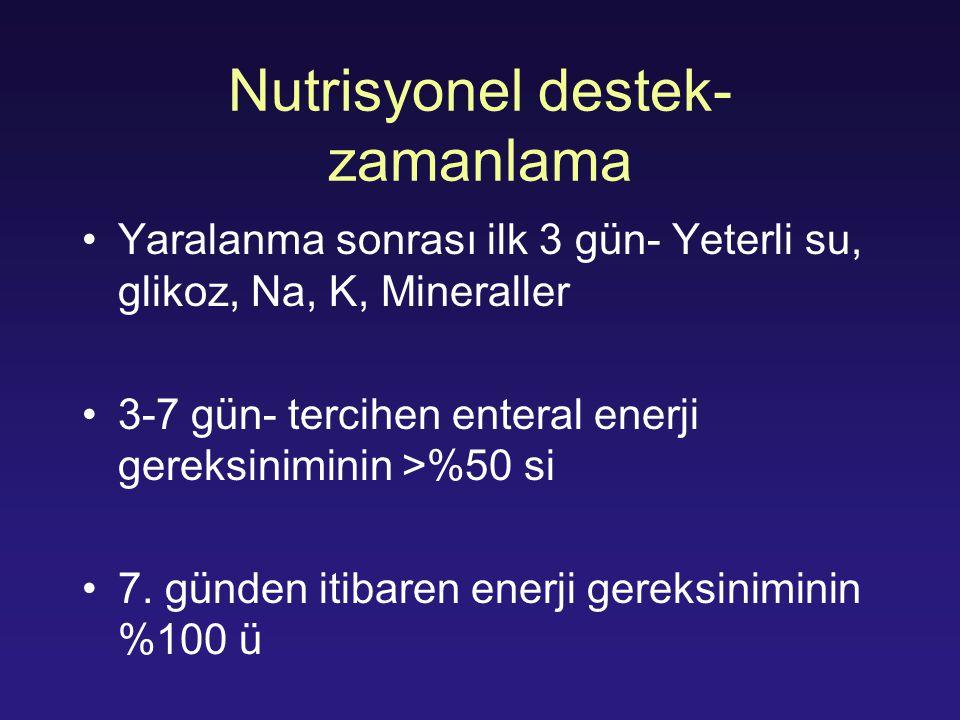Nutrisyonel destek- zamanlama Yaralanma sonrası ilk 3 gün- Yeterli su, glikoz, Na, K, Mineraller 3-7 gün- tercihen enteral enerji gereksiniminin >%50