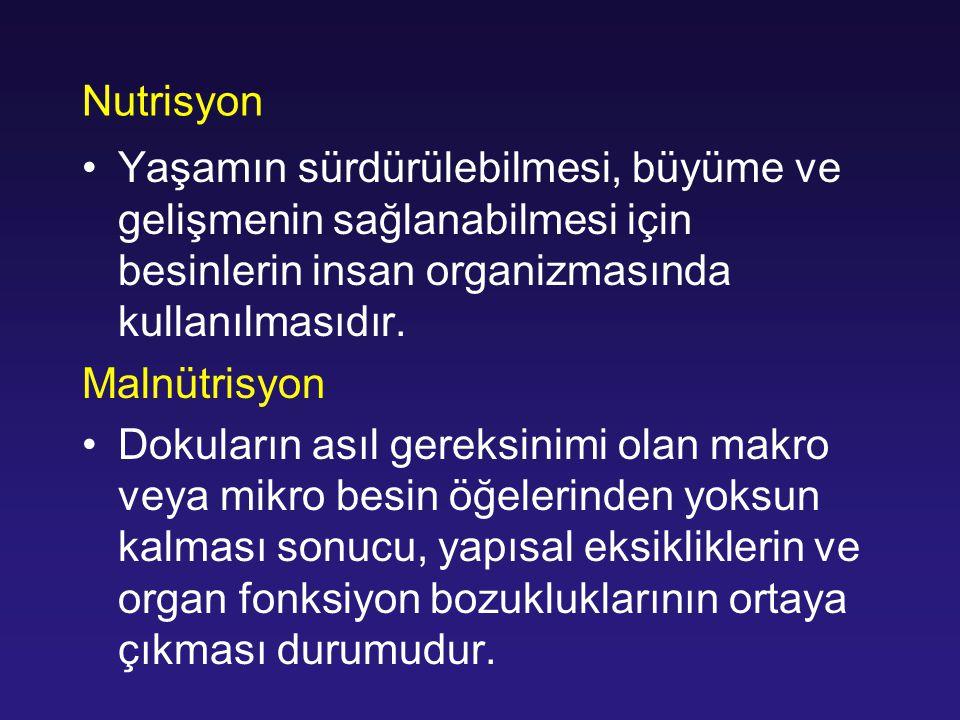 Nitrojen Dengesi Nitrojen Dengesi= Total Protein Alımı-(UUN+4 grams) 6.25 6.25 =g protein/g nitrogen UUN =Urine Urea Nitrogen=g excreted x 24 hrs 4 grams = Insensible losses (skin / GI) Çoğu YB hastası 1.5 gram/kg/gün Yanıklar hariç (2-2.5 gram/kg/gün)
