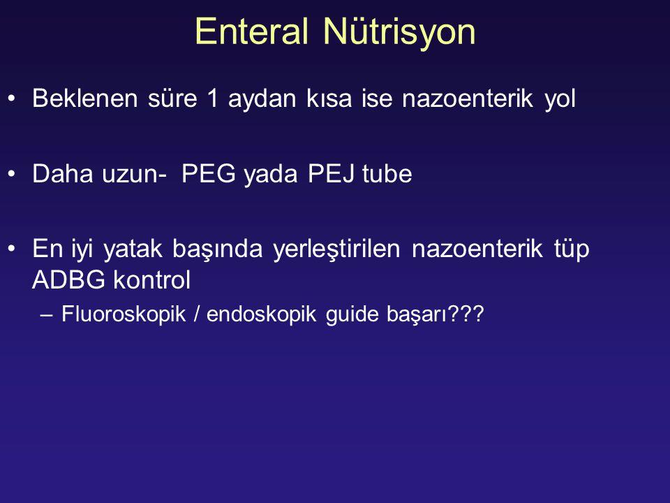 Enteral Nütrisyon Beklenen süre 1 aydan kısa ise nazoenterik yol Daha uzun- PEG yada PEJ tube En iyi yatak başında yerleştirilen nazoenterik tüp ADBG