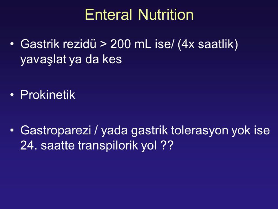 Enteral Nutrition Gastrik rezidü > 200 mL ise/ (4x saatlik) yavaşlat ya da kes Prokinetik Gastroparezi / yada gastrik tolerasyon yok ise 24. saatte tr