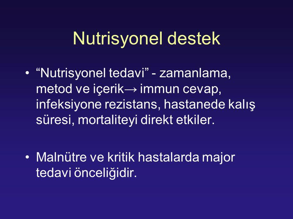 Malnutrisyonun zararlı etkileri ↑İnfeksiyöz komplikasyon ↑ hastanede yatış ↓İmmün fonksiyonlar Solunum kaslarında zayıflama Ventilatör bağımlılığında artma Viseral organ fonksiyonlarında bozulma Azalmış yara iyileşmesi Mukozal bariyerde bozulma Artmış mortalite