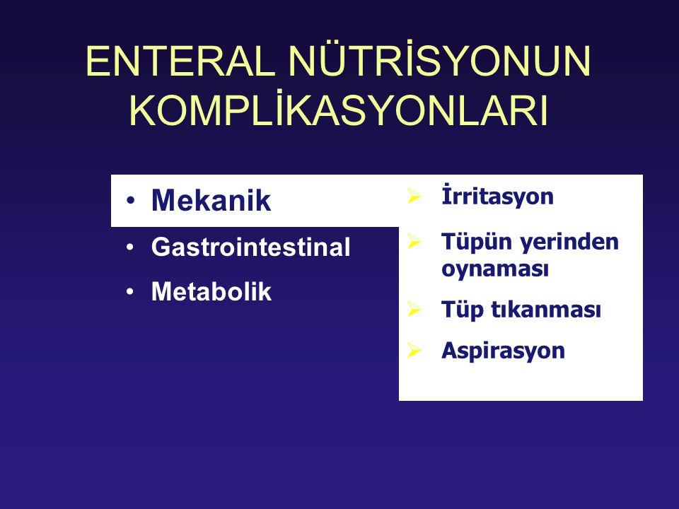 ENTERAL NÜTRİSYONUN KOMPLİKASYONLARI Mekanik Gastrointestinal Metabolik  İrritasyon  Tüpün yerinden oynaması  Tüp tıkanması  Aspirasyon