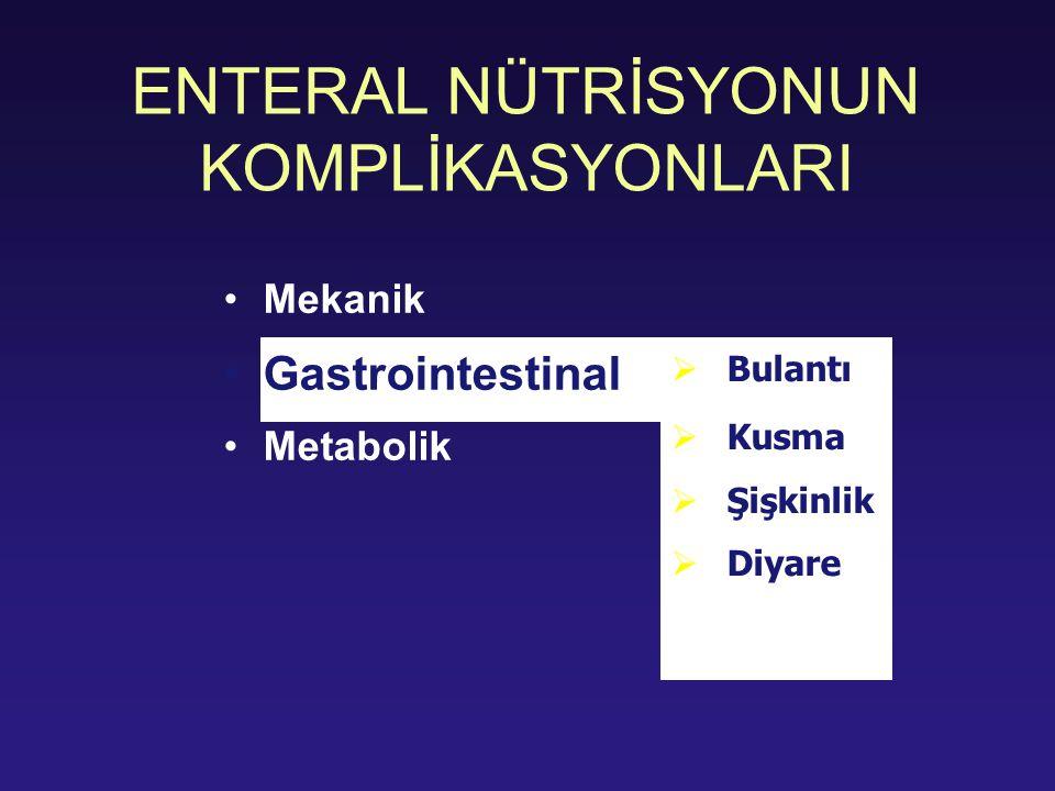ENTERAL NÜTRİSYONUN KOMPLİKASYONLARI Mekanik Gastrointestinal Metabolik  Bulantı  Kusma  Şişkinlik  Diyare