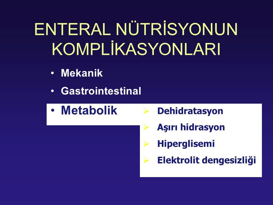 ENTERAL NÜTRİSYONUN KOMPLİKASYONLARI Mekanik Gastrointestinal Metabolik  Dehidratasyon  Aşırı hidrasyon  Hiperglisemi  Elektrolit dengesizliği