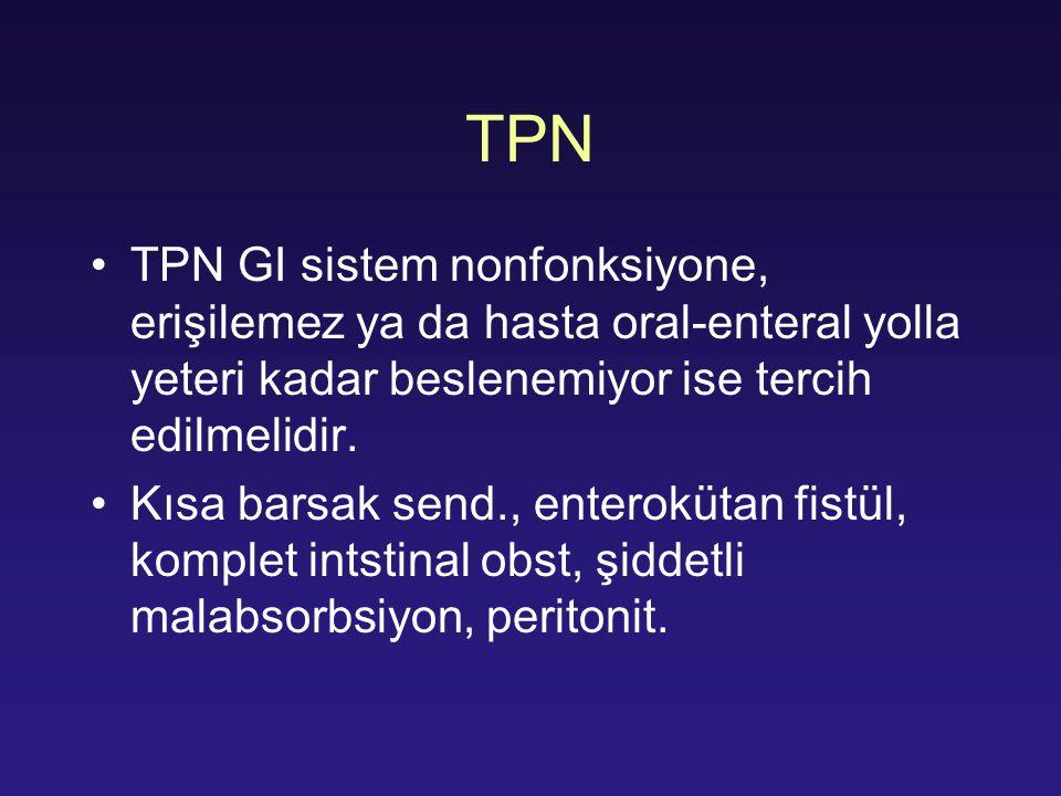 TPN TPN GI sistem nonfonksiyone, erişilemez ya da hasta oral-enteral yolla yeteri kadar beslenemiyor ise tercih edilmelidir. Kısa barsak send., entero