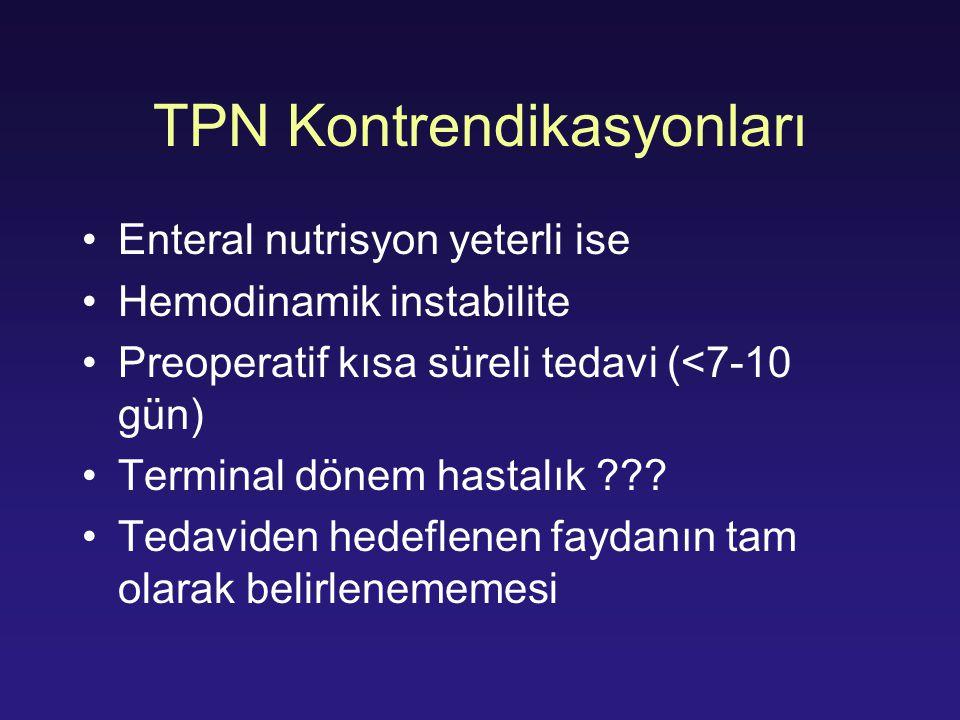 TPN Kontrendikasyonları Enteral nutrisyon yeterli ise Hemodinamik instabilite Preoperatif kısa süreli tedavi (<7-10 gün) Terminal dönem hastalık ??? T