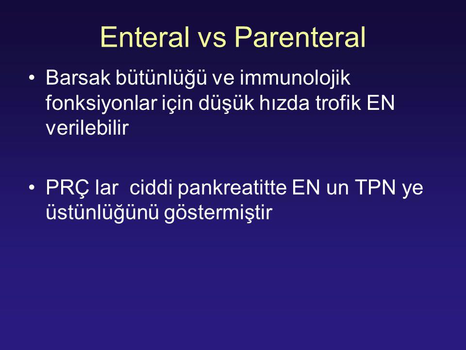 Enteral vs Parenteral Barsak bütünlüğü ve immunolojik fonksiyonlar için düşük hızda trofik EN verilebilir PRÇ lar ciddi pankreatitte EN un TPN ye üstü
